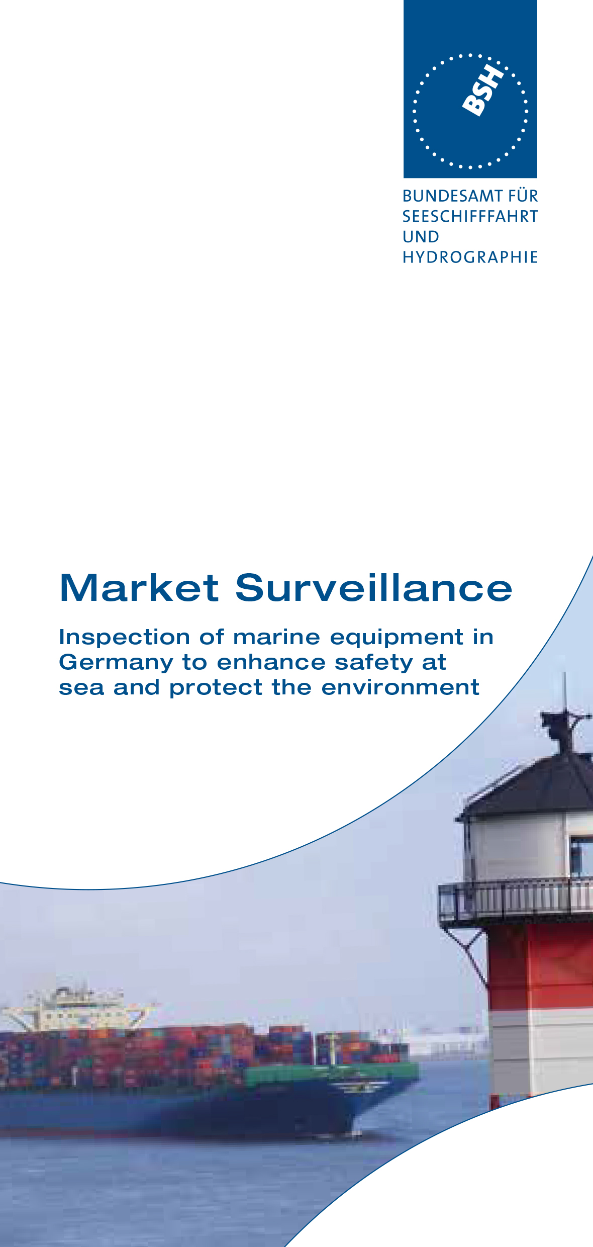 Titelblatt des Flyers Market Surveillance  Inspection of marine equipment in Germany