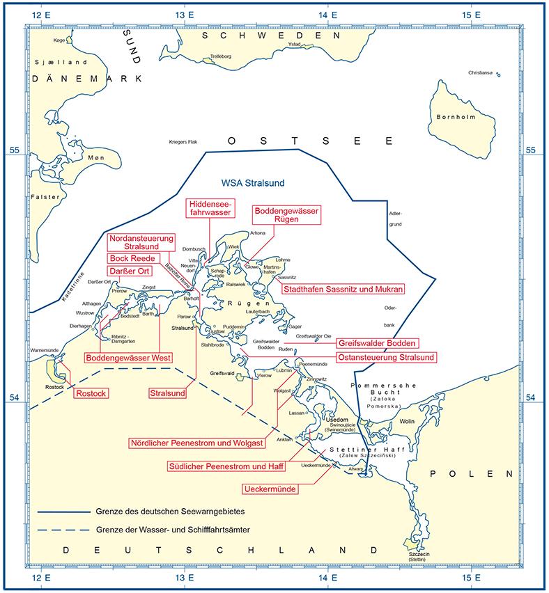 Stralsund Karte.Bsh Homepage Zeitweilige Mindertiefen Wsa Stralsund