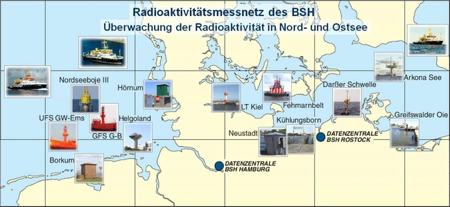 Radioactivity monitoring stations in the North Sea and Baltic Sea