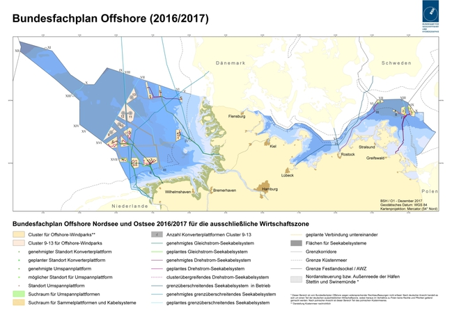 Map of Spatial Offshore Grid Plan (2016/2017)