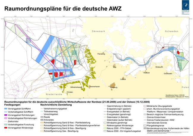 Overview map of maritime spatial plans for the German EEZ