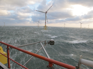 "Strong wind and high waves in offshore wind farm ""Alpha Ventus"""