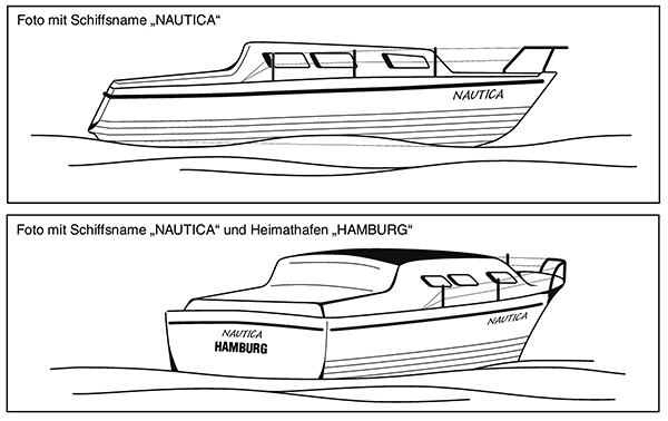 Illustration of ship photographs to be submitted for the issue of a flag certificate