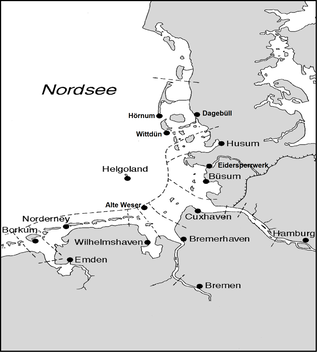 Map of the German North Sea coast with the positions of the 16 main gauges for water level forecasting