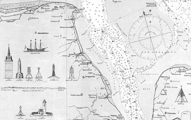 "Detail of nautical chart 49 ""Mouths of the Jade, Weser and Elbe"" from 1878"