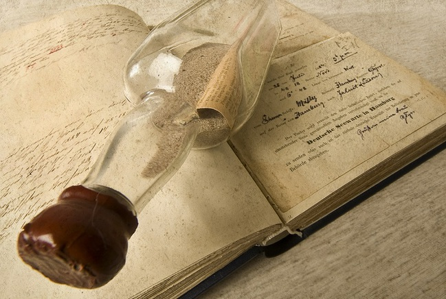 Message in a bottle with documents