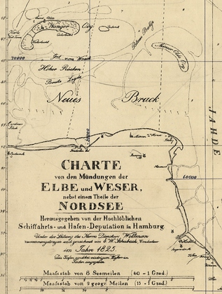 "Detail of nautical chart 49 ""Mouths of the Jade, Weser and Elbe"" from 1825"